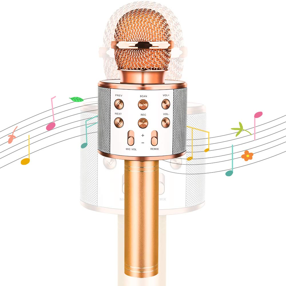 GIFT4KIDS Birthday Gifts Toy for 4 5 6 7 8 9 10 Year Old Boys, Bluetooth Microphone Idea for Kids Toy Microphone for Kids Microphone Fun Toys for 3-14 Year Old Girls Boys (Rose Gold) by GIFT4KIDS