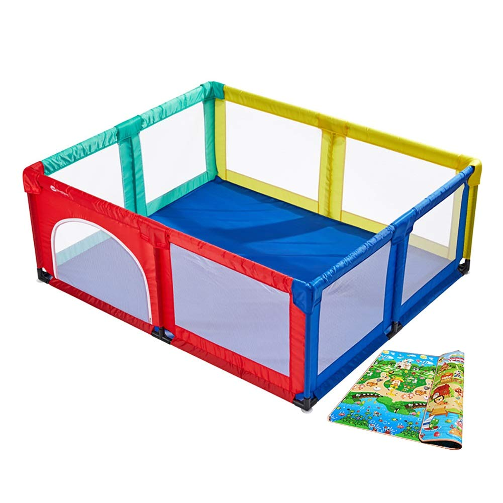 Baby Playpen with Mattress Full Size Portable Playard for Toddlers Anti-collision Extra Large Kids Play Yard (Size : 180×190cm) ZJM