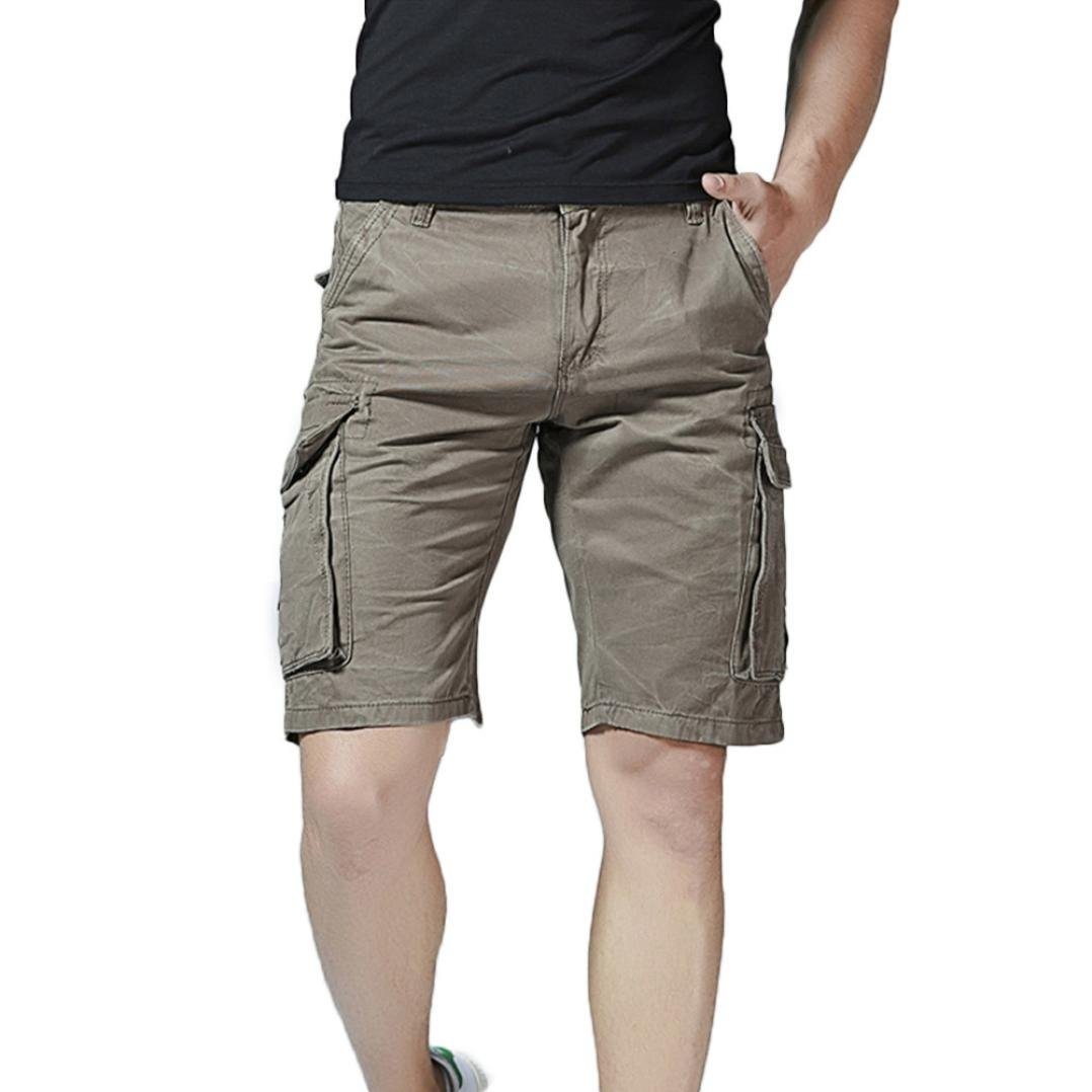 GREFER Men's Casual Pure Color Outdoors Pocket Beach Work Trouser Cargo Shorts Pant Gray by GREFER