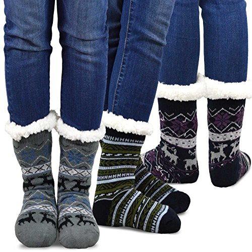 Womens Thermal Socks (Teehee Womens Soft Premium Thermal Double Layer Crew Socks 3-Pack (Deer))