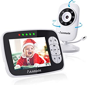 """Video Baby Monitor with Camera and Audio, Anmade 3.5"""" Color Screen 960 feet with Night Vision Support Multi Camera, ECO Mode, Two Way Talk, Temperature Sensor, Built-in Lullabies"""