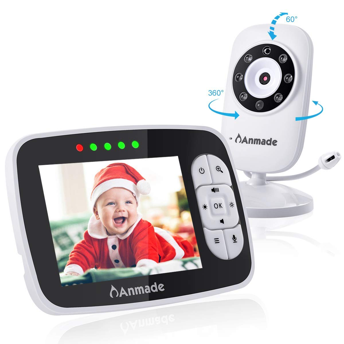 Video Baby Monitor with Camera and Audio, Anmade 3.5'' Color Screen 960 feet with Night Vision Support Multi Camera, ECO Mode, Two Way Talk, Temperature Sensor, Built-in Lullabies