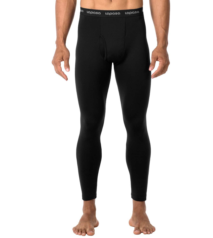 LAPASA Men's Heavyweight Thermal Underwear Pants Fleece Lined Long Johns Leggings Base Layer Bottom M25 (Black, Medium) by LAPASA