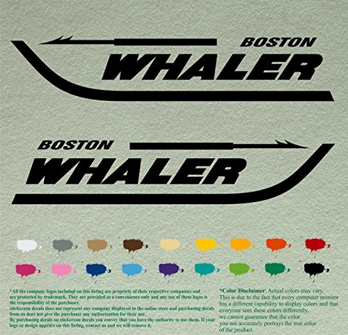 Pair of Boston Whaler Boats Outboards Decals Vinyl Stickers Boat Outboard Motor Lot of 2 (18