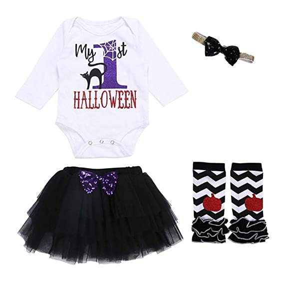 Gusspower Vestido para Niñas, 4 Piezas Vestidos De Princesa Estampado de Manga Larga de Halloween