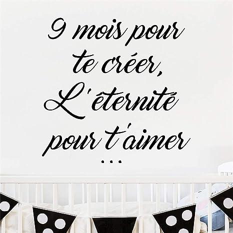 Pegatinas De Pared Disney Cita En Francés 9 Mois Pour Te