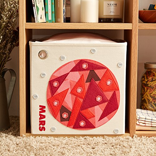 kaikai & ash Storage Bin, Canvas Fabric Toy Box Cube, Kids - Mars