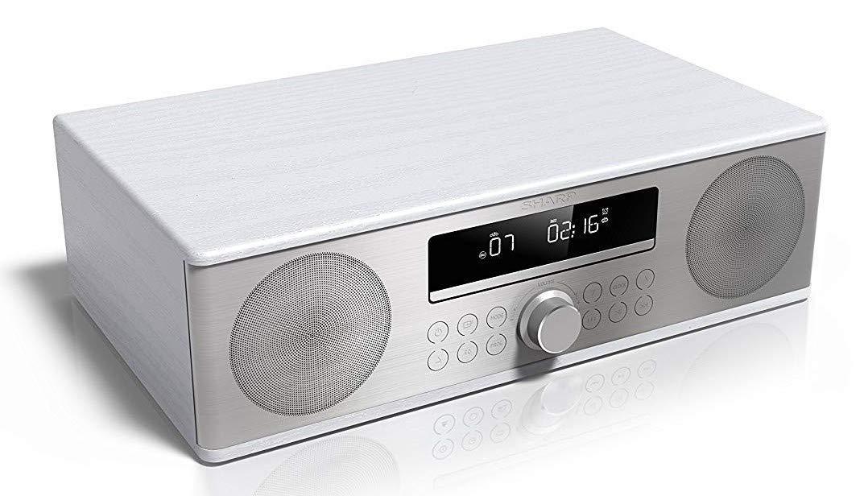 Sharp XL-B715 WH 90W de Potencia Bluetooth 4.2 Carcasa de Madera y Frontal de Acero Inoxidable Cepillado Cd-Mp3 Reproducci/ón Usb Color Blanco Fm Dab+ All In One Sound System con Radio Dab