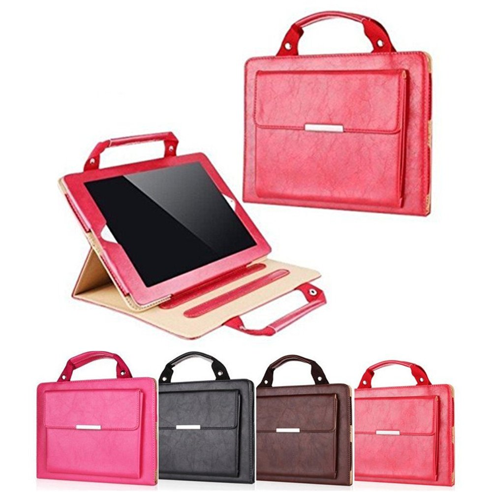 iPad Pro 12.9 Cases Protective Cover 2017,MeiLiio Business Style Handbag Slim PU Leather with Handle Pocket Fold Out Viewing Stand Carrying Case for Apple iPad Pro 12.9 inch Tab (Red) by MeiLiio