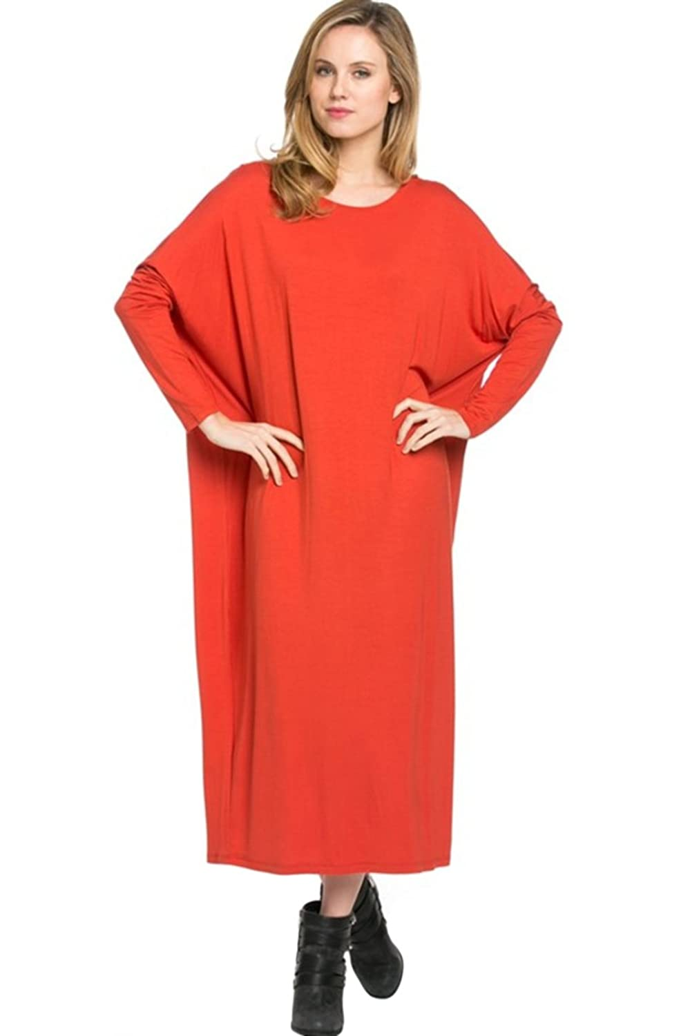 2LUV Women's Long-Sleeve, Dolman Midi Dress