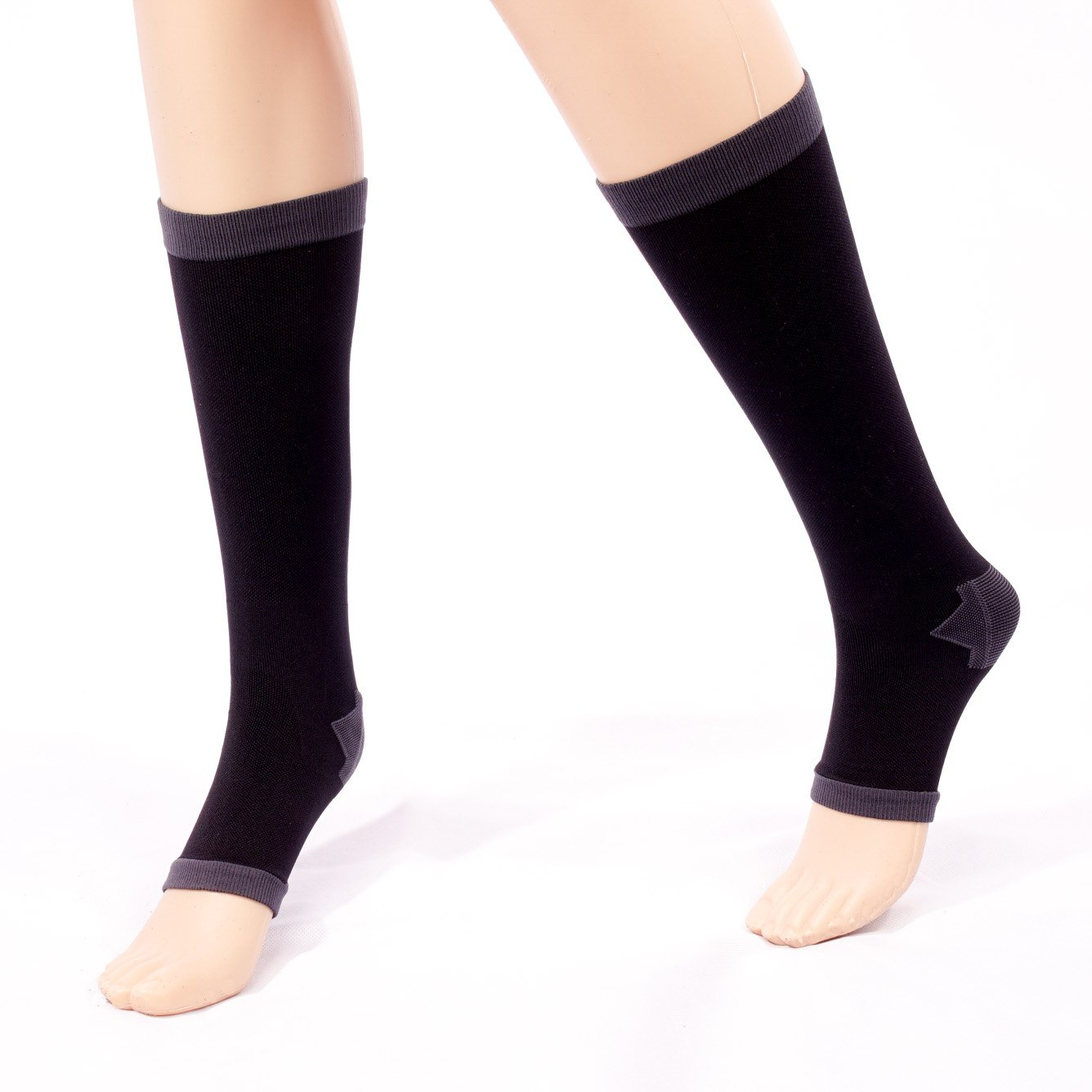 Teeoff Womens Open Toe Compression Socks Knee High 1 Pair Toeless Compression Stockings for Air Travel Nurses Running