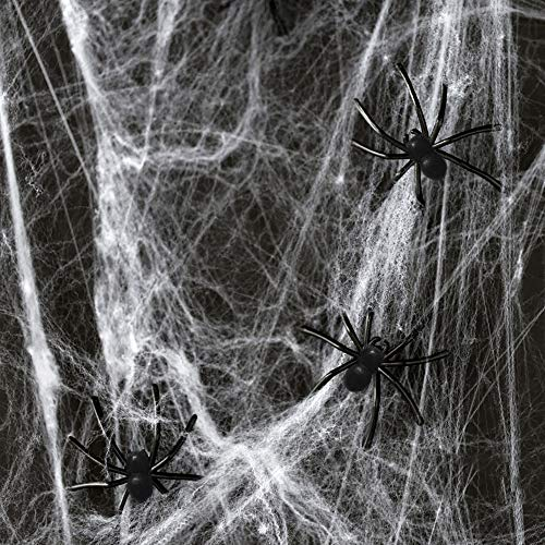 (Halloween Fake Spider Webs Decorations - 400sqft Super Stretch Spider Webbing with 140 Realistic Bugs Scary Halloween Decoration for Window Door Home Yard Halloween Decor Spiderweb)