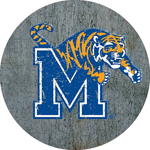 """Memphis Tigers Distressed Wood Grain 4"""" Round Magnet"""