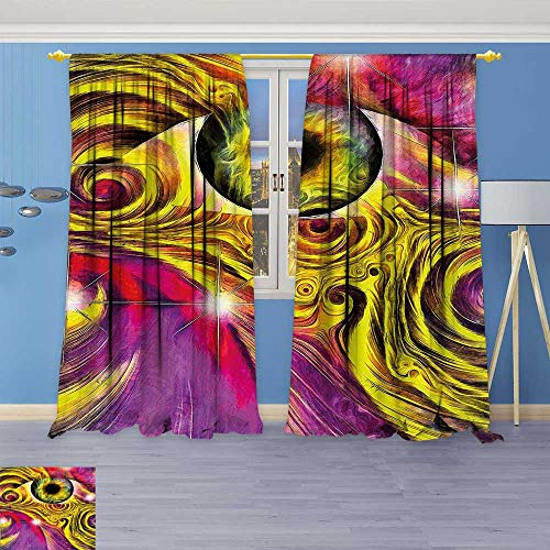 Price comparison product image Philiphome Bedroom Blackout Curtains Set -Hallucinatory Eye in Vivid Colors with Optical Swirl Lines Graphic Fuchsia Yellow Window Treatments Home Decoration Curtains