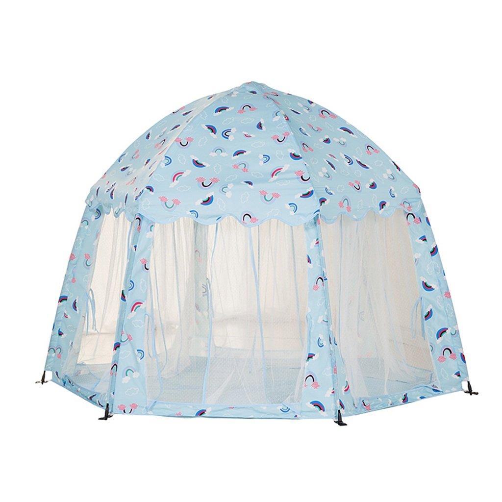 T- Children Games Tents Quickly Open Tent Hexagonal Tent Pink Blue Cartoon Pattern Indoor And Outdoor Game Reading Big House, (Only One Tent) ( Color : Blue )