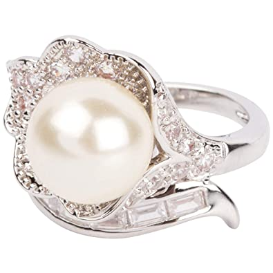 9785e3ea75b13 Amazon.com: Grace Kelly Collection Pearl Wedding Ring: Jewelry