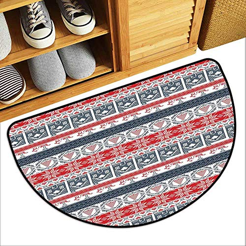 DILITECK Door mat Customization Nordic Scandinavian Inspirations Winter Stitch Gingerbread House and Tree Sleigh Personality W31 xL20 Dark Blue Red White