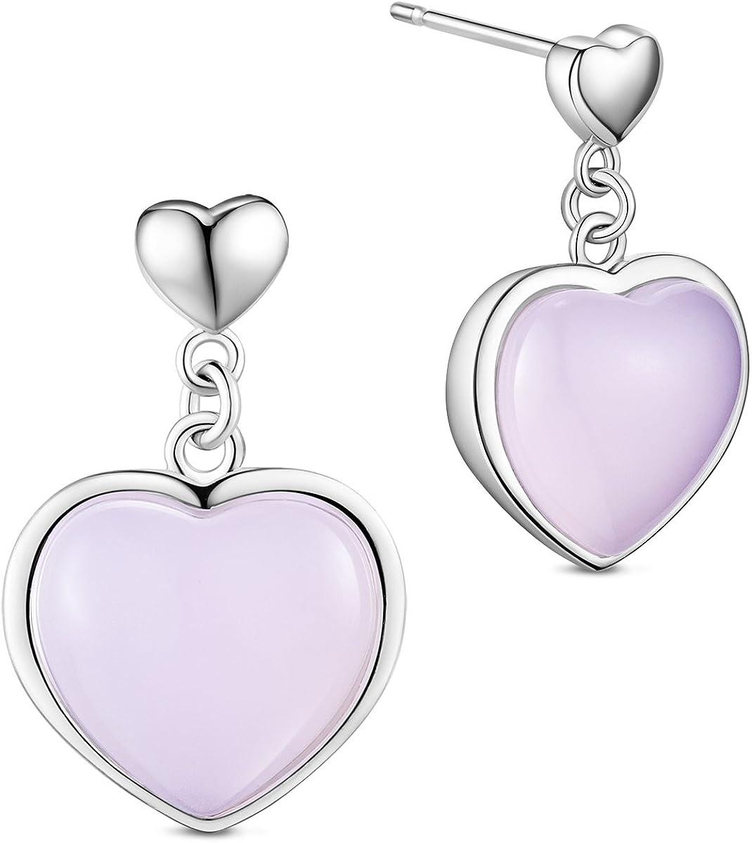 SHEGRACE pendientes mujer de 925 plata de esterlina, colgante de corazon con cuarzo Rosa, platino, 20mm