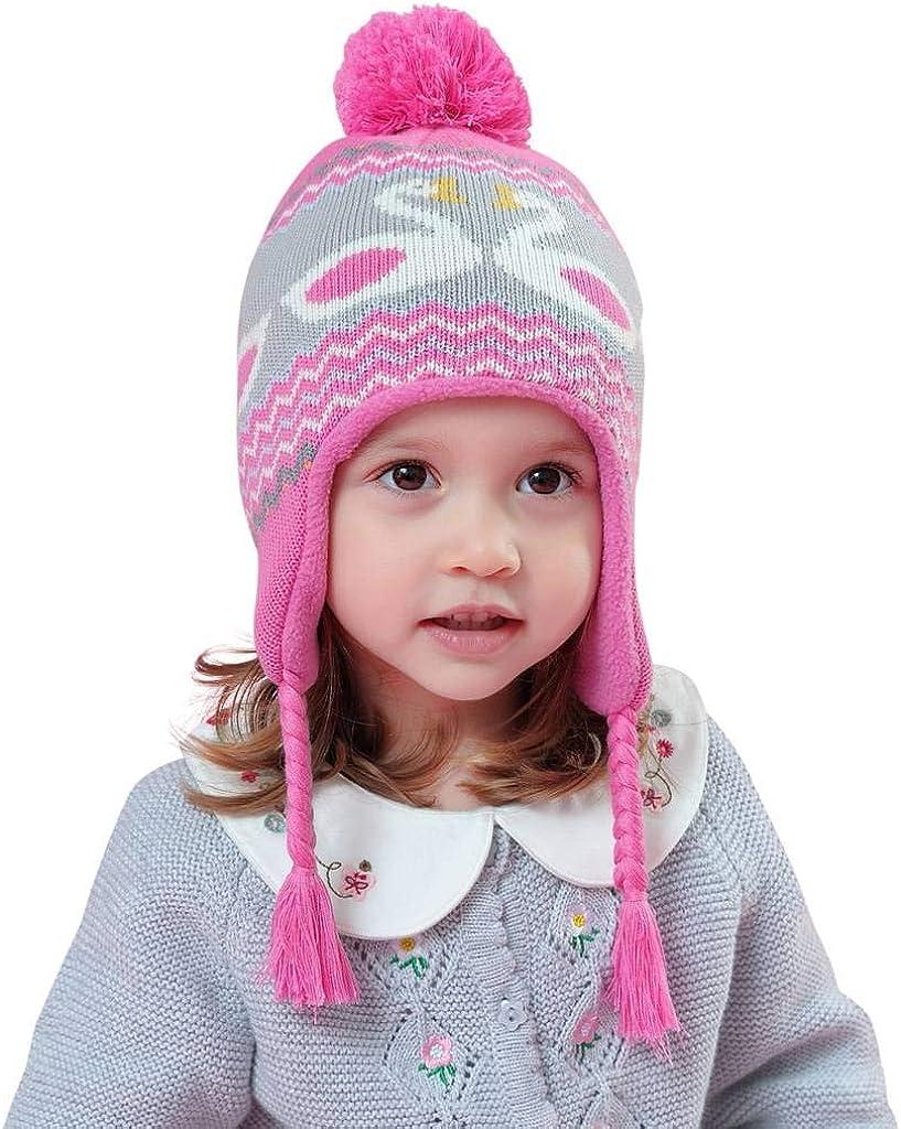 Home Prefer Boys Girls Winter Hat Warm Fleece Knit Earflaps Hat for Kids