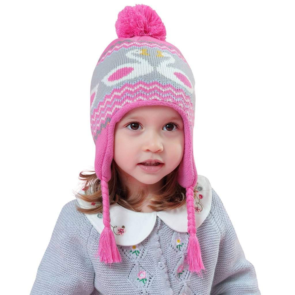 Home Prefer Toddler Girls Hat Knitted Earflap Beanie Winter Hat with Fleece Lining L