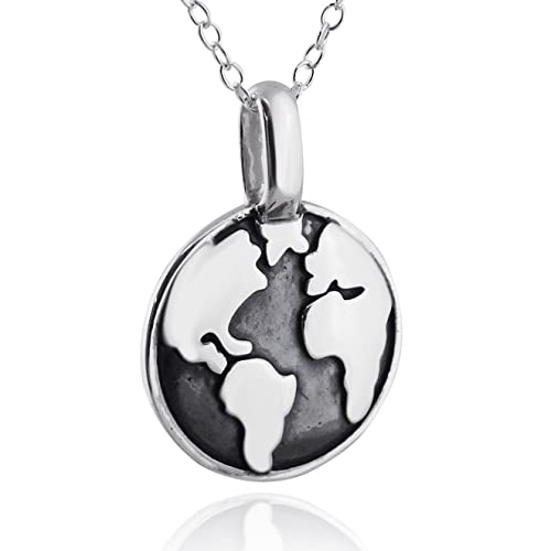Amazon sterling silver textured world globe pendant necklace sterling silver textured world globe pendant necklace 18quot chain planet earth aloadofball Choice Image