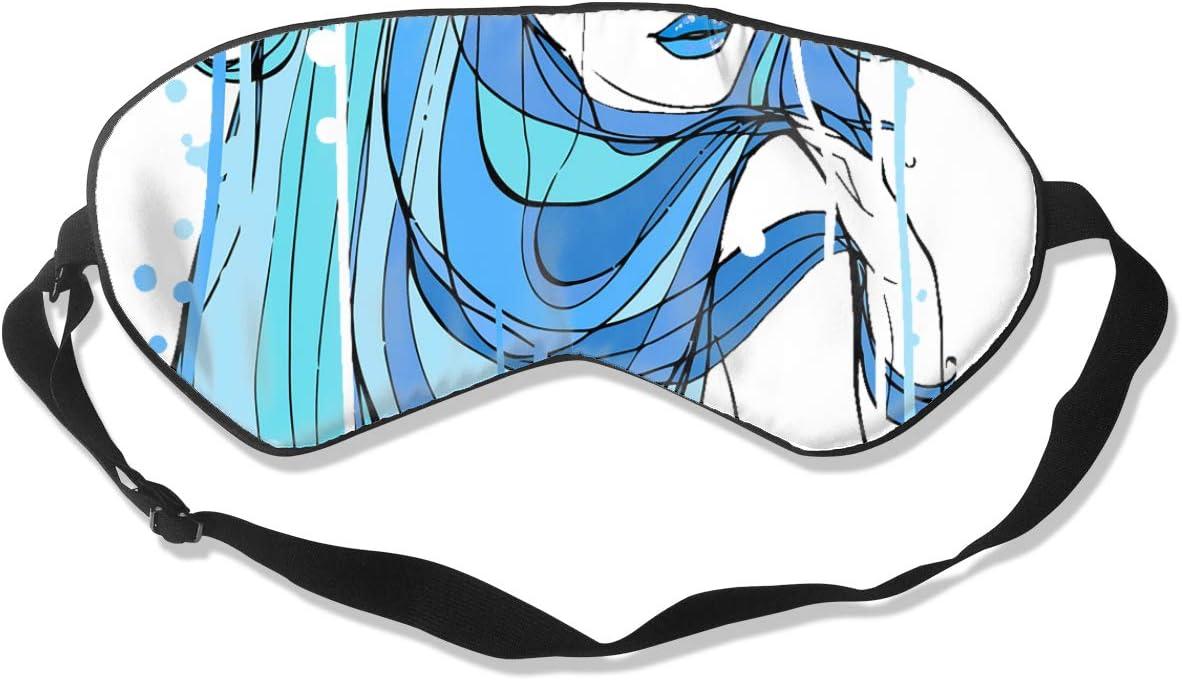 Máscara de dormir de pelo largo para niña, acuarela azul, ideal para viajes, siesta, meditación, máscara de ojos con correa ajustable, masculino, hembra