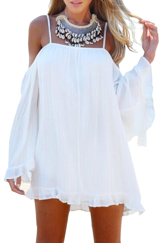 Azbro Vestido Túnica Suelto Hombro-Fuera