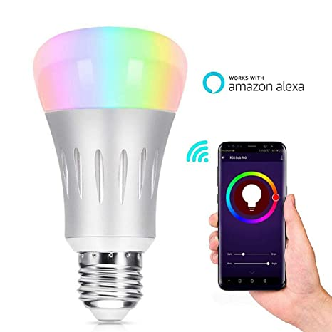 Smart Bombilla de luz inteligente WiFi, Bombilla de luz LED inteligente multicolor de 10W,