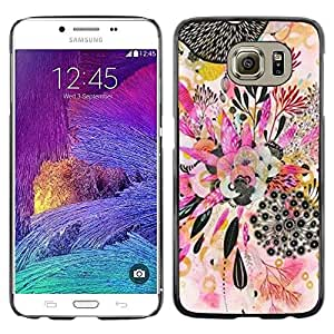 LECELL--Funda protectora / Cubierta / Piel For Samsung Galaxy S6 SM-G920 -- Plant Art Abstract Drawing --