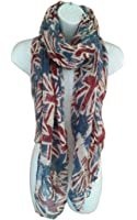 UK Flag Print Scarf Union Jack Womens London Fashion Denim Blue