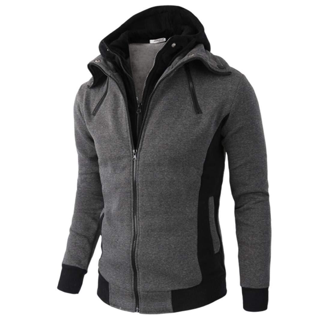 Manadlian Herren Mantel Hooded Sweatshirt Mit Reißverschluss Männer Winterjacke Herbst Winter Lange Ärmel Jacke Warm Kapuzenpullover