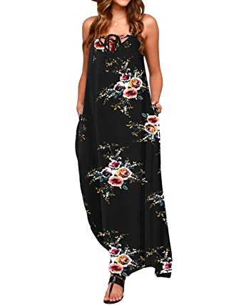 866117287d STYLE DOME Womens Floral Printed Maxi Dress Sexy Summer Long Swing Holiday  Sundress 01 Black S