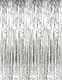 Metallic Silver Foil Fringe Curtains (2-Pack, Silver)