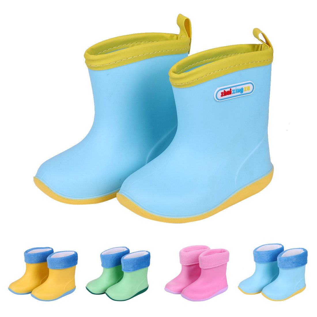 Asgard Cute Rain Boots for Kids Waterproof Candy Color Ankel Rubber Boots, with Warm Cosy Soft Socks B16 by Asgard (Image #1)