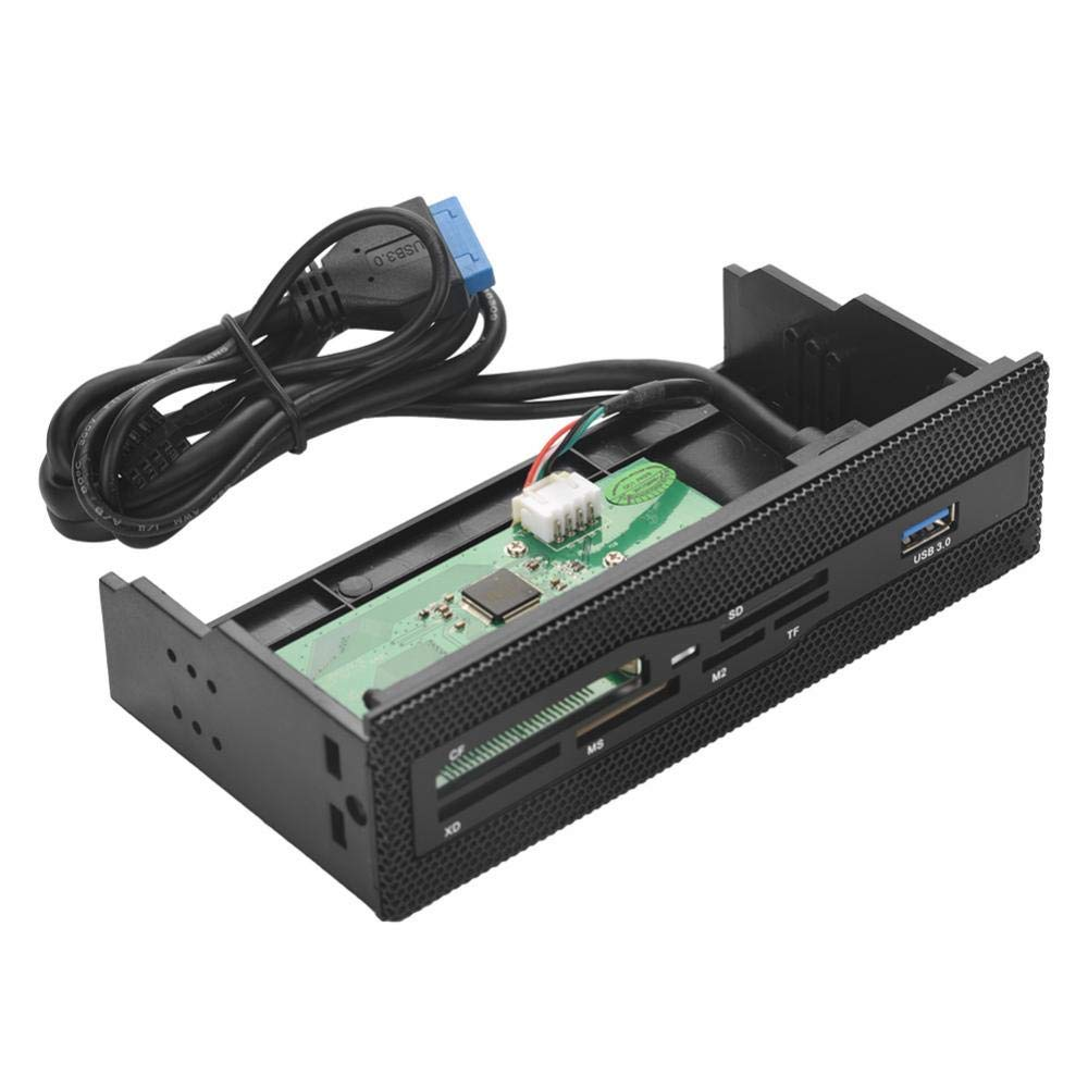 fosa PC Front Panel Internal Card Reader, Media Multi-Function Dashboard USB 3.0 Port Support M2 SD MS XD CF TF Card for Computer, Fits any 5.25'' Computer Case Front Bay