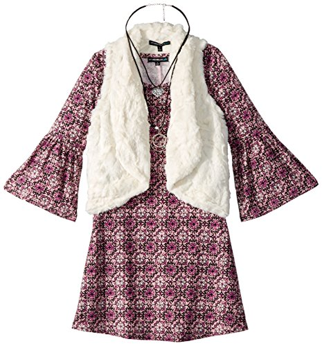 My Michelle Girls' Big Flutter Sleeve Printed Dress with Vest, Blush, 8 (Michelle Clothes My)