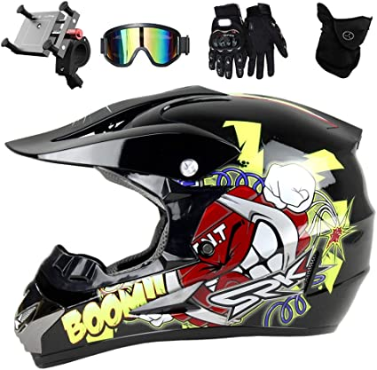 Pkfg Casque Moto Enfant Cross Casque Moto Cross Country Dessin