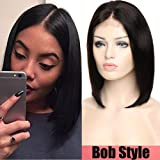 "#1B/Natural Color 130% Lace Front Human Hair Wigs With Baby Hair Brazilian Remy Hair 12"" Straight Short BOB Wig"