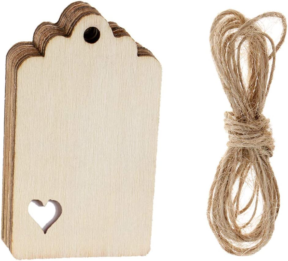 Unfinished Wood Rectangle Cutouts with Hemp Rope 2 x 1 in, 100 Pack