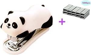 Yansanido Mini Cute Panda Mini Desktop Stapler with 1000 No.10 Staples for Office School Home Travel and Best Cute Gift for Friends and Children(Panda)