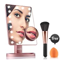 EASEHOLD Makeup Mirror with Lights, LED Illuminated Vanity Mirror with Removal 10X Magnification Spot, Bonus Beauty Brush and Sponge (Rose Gold)