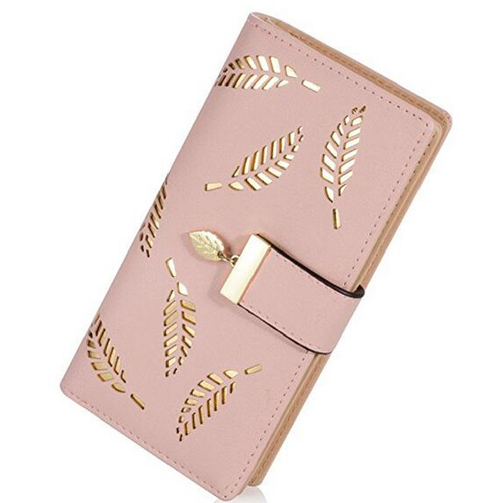 Womens Long Leather Card Holder Purse Zipper Buckle Elegant Clutch Wallet Short Wallet - khaki