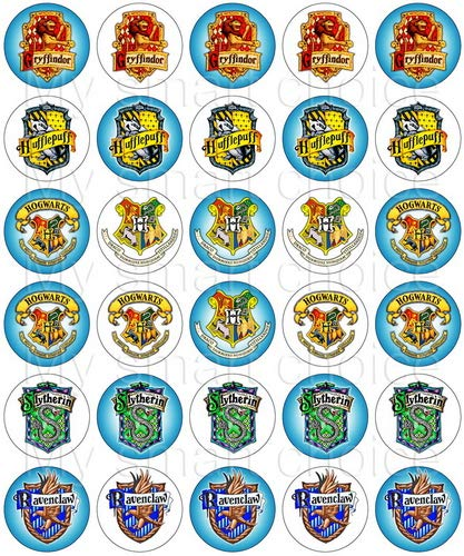 30 x Edible Cupcake Toppers - Harry Potter, Houses of Hogwarts School of Witchcraft and Wizardry Themed Collection of Edible Cake Decorations | Uncut Edible Prints on Wafer Sheet