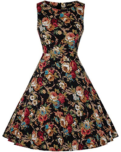 [IHOT Vintage 1950's Floral Spring Garden Party Picnic Dress Party Cocktail Dress for Women Dark Apricot Floral Large] (Dark Apricot)