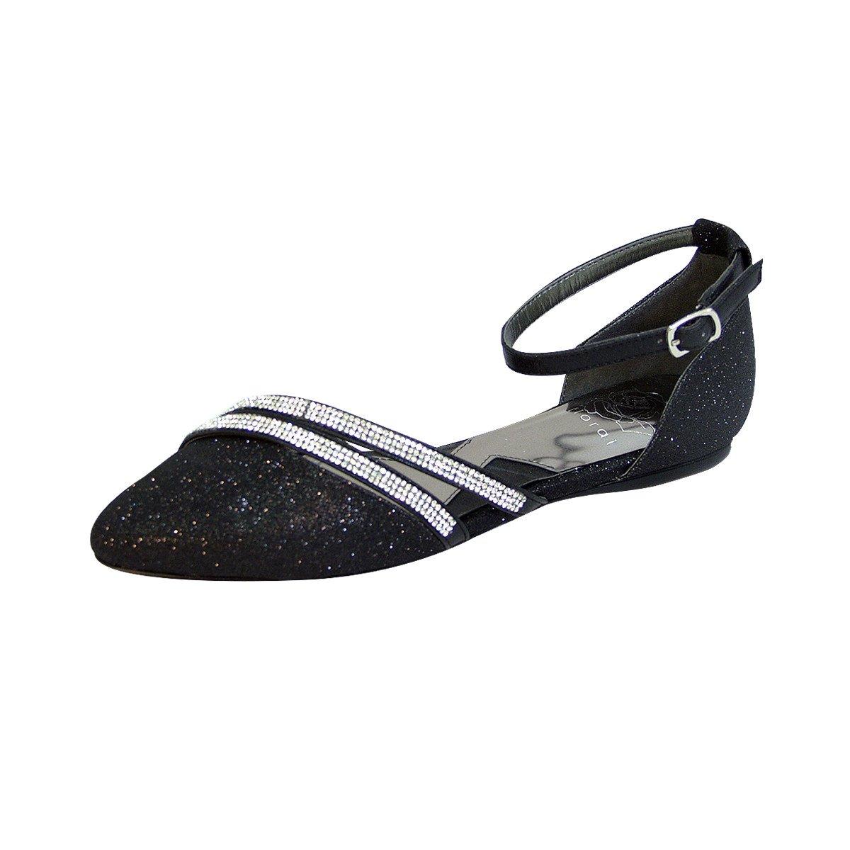 Fuzzy Hallie Women Wide Width Open Shank Pointed Toe Buckle Ankle Strap Flats (Size & Measurement) B0773WF7XL 8 D|Black