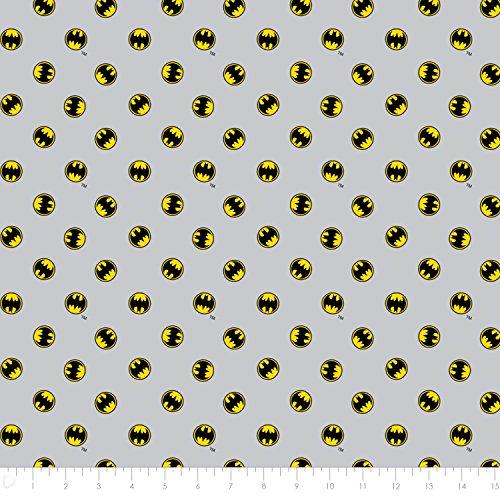 DC Comics Batman Logo in Light Grey Premium Cotton Fabric by the Yard]()