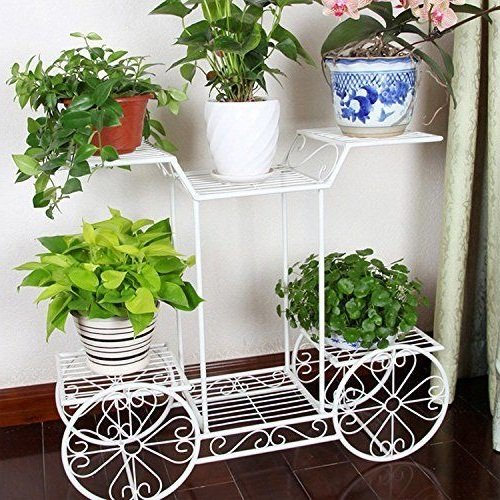 Mission Oak Plant Stand (White, 4-Wheeler Metal Flower Rack Display Plant Stand with 6 Pots Holder Home&Garden)