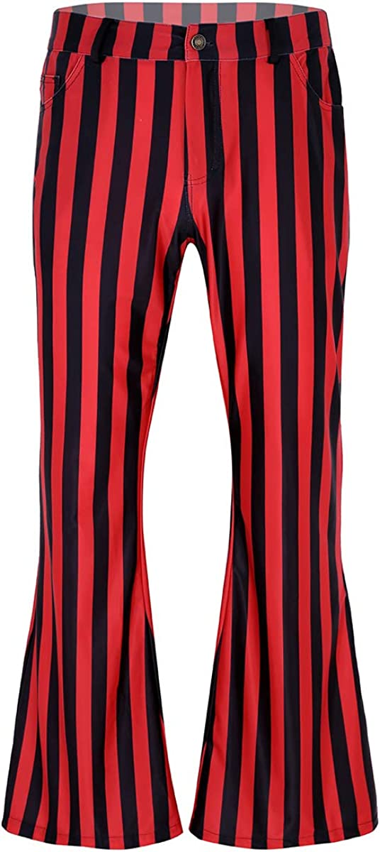 Men's Vintage Pants, Trousers, Jeans, Overalls Agoky Mens 60s 70s Vintage Mid Waist Black White Striped Stretch Bell Bottom Super Flares Long Pants $32.45 AT vintagedancer.com