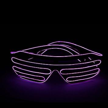 820b0b54a9 Lerway Black Frame Neon El Wire LED Lighting Up Slotted Shutter Glasses  Eyeglasses Eyewear + Standard ...