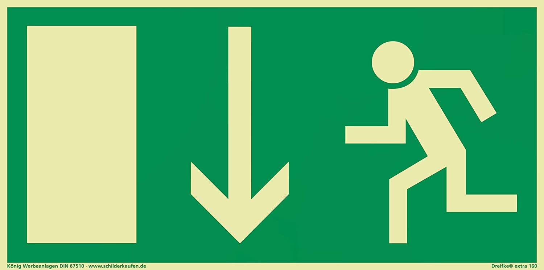 Cartel salida de emergencia Flecha hacia abajo langnachleuchtend 297x 148mm PVC autoadhesivo según BGV 8A (ext Cartel salida de emergencia rescate caracteres rettungs vía salvavidas Cartel) dreifke® König Werbeanlagen